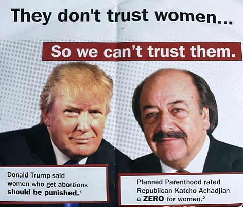 <strong>KATCHO TRUMP? </strong> A flurry of recent mailers liken congress­ional hopeful and Assemblymember Katcho Achadjian to Donald Trump for his poor grades from Planned Parenthood.