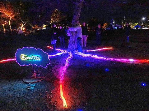 """HuggaTree,"" designed by John Lawrence, is one of 14 light-based art pieces lining Isla Vista parks through Saturday night as part of LightWorks Illumination Festival."