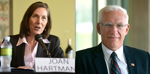 Big money has started flowing to the campaigns for 3rd District Supervisor candidates Joan Hartmann (left) and Bruce Porter.