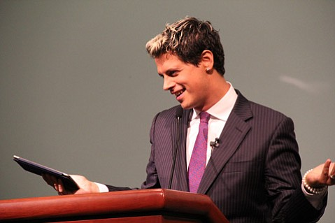 <b>POLARIZING:</b>  Milo Yiannopoulos addresses a UCSB audience during his Feminism Is Cancer  talk.