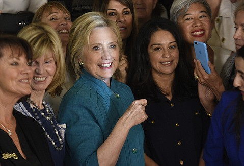 "Just before the California primary, Democratic front-runner Hillary Clinton stopped Saturday at Jill's Place for what the campaign called, ""a conversation on women and families."""