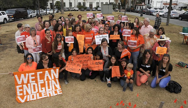 Elected officials stood alongside community members this June 2 at De La Guerra Plaza for National Gun Violence Awareness Day and Wear Orange Day.
