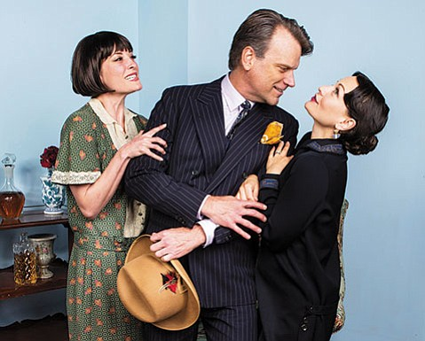 <strong>CAUGHT IN THE MIDDLE:</strong>  J. Paul Boehmer (center) plays Maurice, the man with whom both Jane (Julie Granata, pictured left) and Julia (Paige Lindsey White) have been involved in Noël Coward's comedy <em>Fallen Angels</em>.