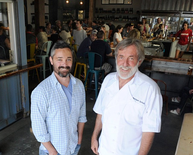 BEER MAN AND CHEF EXTRAORDINAIRE: The Waterline's first tenants to open are Lama Dog Tap Room + Bottle Shop, owned by craft brew aficionado Pete Burnham (left), and The Nook restaurant, a casual yet gourmet kitchen run by longtime and celebrated Santa Barbara chef Norbert Schulz (right).
