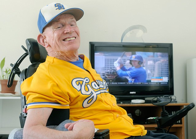 """LONG TIME COMING: """"Gaucho Phil"""" Womble watches the UCSB baseball team play a College World Series game for the first time."""