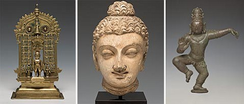<strong>THE MANY AND THE ONE:</strong>  A Jain figure of the 24 Jinas (left) and a sculpted head of the Buddha from Gandhara are objects of veneration from the Indian subcontinent now on display at the SBMA.