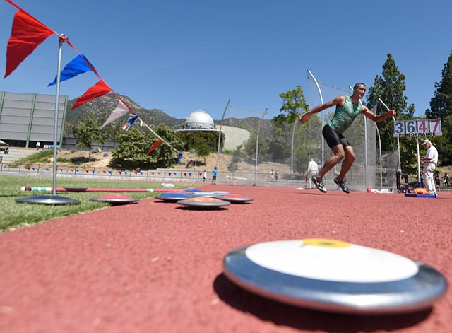 HOPEFULS HURRY UP: Ashton Eaton (left) trained at Westmont College earlier this year in his quest to make history as a two-time Olympic decathlon champion.