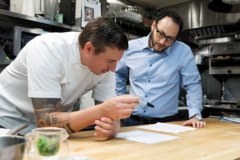 VISION AND TECHNIQUE:  Chef Steven Snook (left) and proprietor Jonathan Rosenson are trying to bring Michelin-star-scoring cuisine to Solvang.