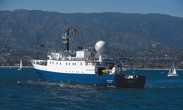 WE'RE ON A BOAT: The seas off Santa Barbara will be explored by Bob Ballard's E/V Nautilus (above) this summer.