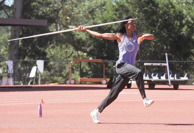 BARBARA GOES BIG: Barbara Nwaba (left, training at Westmont in April) will be the top American woman in the heptathlon at the Rio Olympics this summer thanks to a first-place finish in Oregon last weekend.