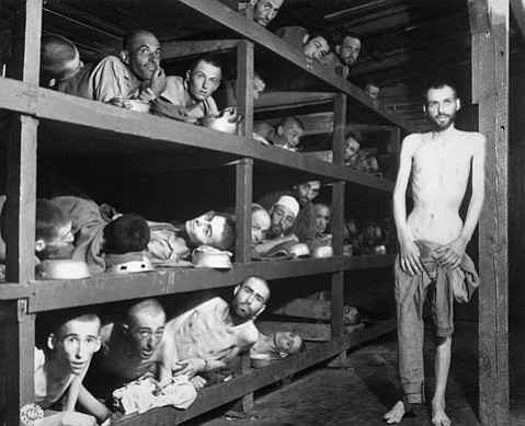 BUCHENWALD:  Elie Wiesel lies on the second bunk from the bottom, seventh man from the left, emaciated from malnutrition in the Nazi slave labor camp of Buchenwald.