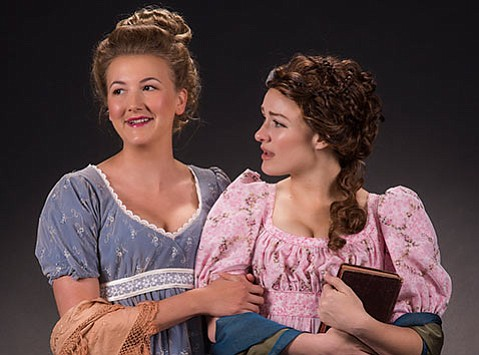 <strong>ARE YOU MY HUSBAND?</strong> Shae Palic (left) stars as Elinor Dashwood and Sierra Wells as Marianne Dashwood, two young women trying to find fitting partners for marriage, in PCPA's stage adaptation of Jane Austen's <em>Sense and Sensibility</em>.