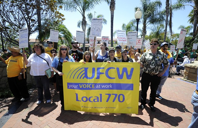 UFCW Local 770 service workers protest for a living wage outside of Ralphs at the corner of Carrillo and Chapala Streets.