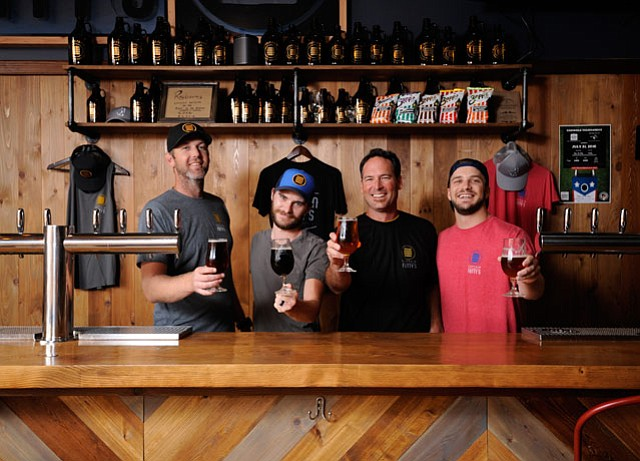 <b>BREW CREW:</b>  Pictured from left are Captain Fatty's Jon Wadell, Preston Angell, Bryan Anderson, and Matt Minkus.