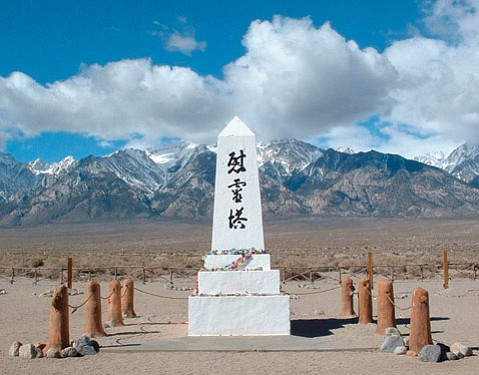 IMPRISONED:  The monument at Manzanar in the arid Owens Valley was created in 1943 to console the souls of those who died there.