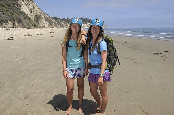 California Coastal Trail hikers Morgan Visalli (left) and Jocelyn Enevoldsen at the halfway point of their walk from Goleta Beach to East Beach in Santa Barbara, CA (July 15, 2015)