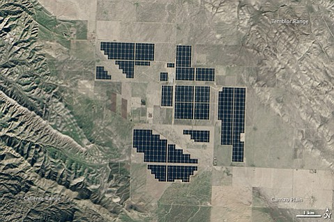 Topaz Solar Farm, one of the largest photovoltaic arrays in the world, sits atop San Luis Obispo County's Carrizo Plain and generates 550 megawatts when the sun shines.