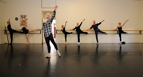 <strong>EN POINTE:</strong> Carrie Diamond (center) leads her students in the fine art of ballet at an American Dance & Music class.