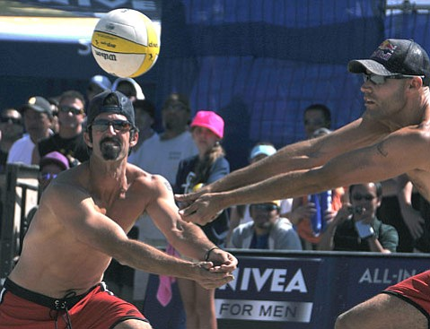 <strong>THE PROFESSOR:</strong> Todd Rogers (left) used his smarts in winning 80 professional beach volleyball titles.
