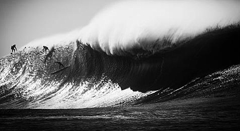 <strong>BIG NIÑO:</strong> Featuring shots of S.B. madman Matt Becker free-falling down the face of a monster wave at Mavericks (above) and beautiful, empty waves (below), Seth de Roulet's 20@17 photo exhibit documents an epic winter of surf.