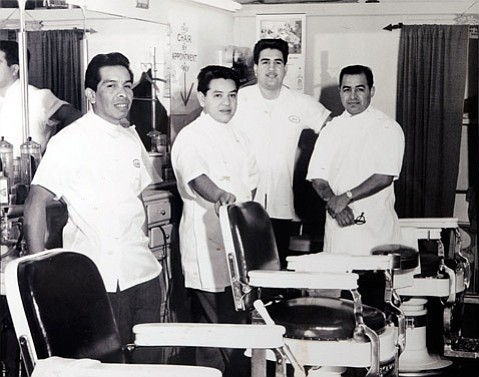 <b>OPEN FOR BUSINESS:</b> In 1957, the legendary Willie Rodriguez (far left) started barbering on Figueroa Street, making the shop his own in just six years. Willie was 31 years old, had recently married, and charged just $1 for a cut. Filling out the roster that year were (from left) Dor Sanchez, Jess Martinez, and Danny Ramirez.