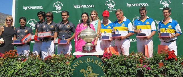 Michelle McFaul, Royal Jaipur Team (L to R) Abhimanyu Pathak, HH the Maharaja of Jaipur Padmanabh Singh, Fateh Singh, and Ransher Singh Rathore, Princess Diya Kumari, Ursula Nesbitt, the Santa Barbara team (L to R) Jonathan Burrows, Pat Nesbitt, Joseph Stuart, and Marco Llambias.