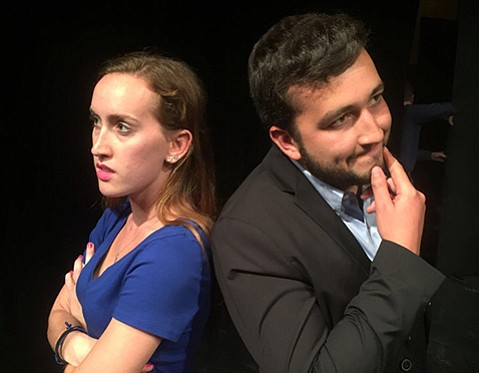 <strong>KISSING CUSSERS:</strong> Maddie Martin portrays Beatrice and Zach Macias plays Benedict in the Naked Shakes production of Much Ado About Nothing.
