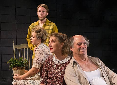<strong>TOM REMEMBERS MAMA:</strong> (From left) Paige Taut, Victoria Finlayson, and Stan Hoffman star as the Wingfields in Lit Moon's memory oriented production of Tennessee Williams's <em>The Glass Menagerie.</em>