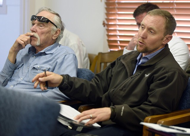 """<b>NO LOVE LOST:</b>  Santa Barbara city water boss Joshua Haggmark (right) said a successfully sneaky move by Bruce Wales (left), general manager of the Santa Ynez River Water Conservation District, to release more water downstream was """"borderline criminal."""""""