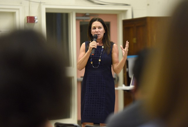 """<b>IN THE RED:</b> Caught off guard by accounting errors and rising costs, Hope Elementary School District has launched an emergency recovery plan. """"This will not happen again,"""" said Superintendent Anne Hubbard (above) at a recent town hall meeting with parents and teachers."""