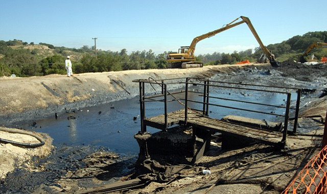 <b>ICK:</b>  Pictured above is an oil spill cleanup on Greka property off Palmer Road in April 2008.