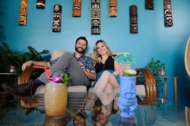 <b>INSPIRED BY CLASSICS:</b>  Brandon and Misty Ristaino didn't want to create a stereotypical tiki bar with Test Pilot, their new spot in the Funk Zone. Instead, they took the classics, added contemporary flair, and made the whole scene more digestible for all.