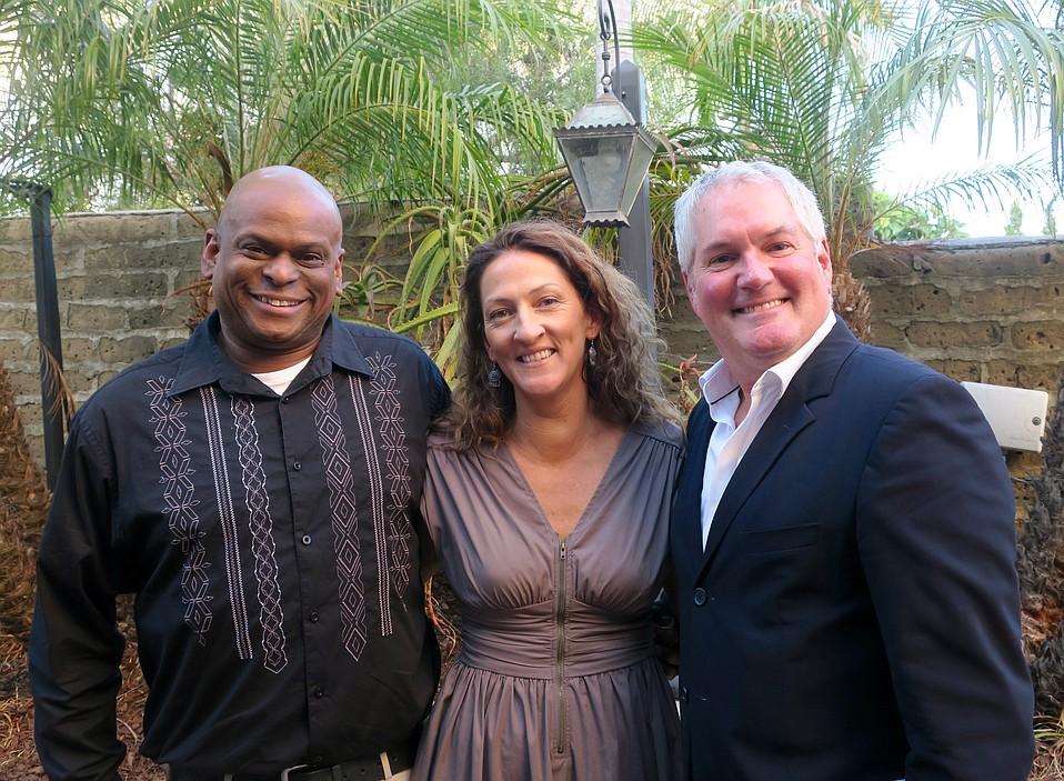 Emcee David Moorman, Jessica Foster, and Steven Sharpe.
