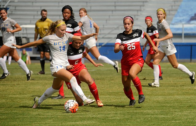 <b>PASSION PLAY:</b> Hounded by UNLV defenders earlier in the season, Amanda Ball scored 10 goals for UCSB before being injured last Sunday.