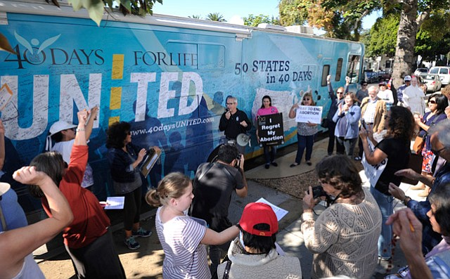 "<b>RIDING THE WAVE: </b>David Bereit, pictured here addressing a crowd of supporters, said California is ""leading the way for the pro-life movement."""