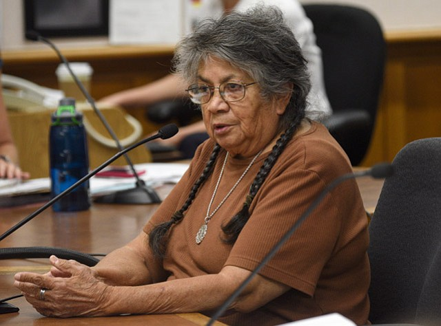 """<b>MARK MY WORDS:</b> """"I would hope it would be guarded with your lives,""""Chumash descendent Ernestine Ygnacio-De Soto told Historic LandmarksCommission members of the De la Guerra Street home."""