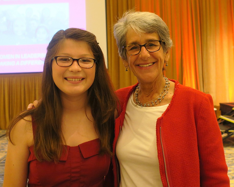 Emcee Roz, an 8th grade student at La Colina Jr. High School (last name withheld pursuant to Girls Inc. policy) and featured speaker, State Senator Hannah-Beth Jackson.