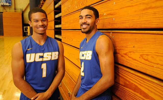 <b>ONE-TWO PUNCH:</b> Backcourt veterans Eric Childress (left) and Gabe Vincent will be the leaders of Gaucho men's basketball in 2016-17.