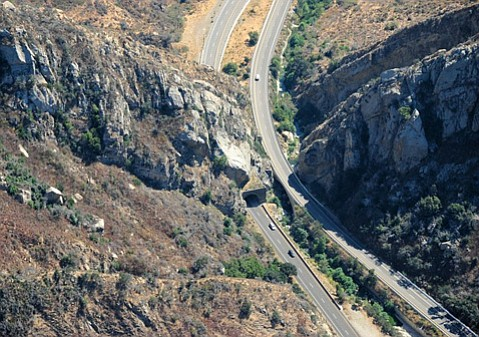 Aerial view of Gaviota Tunnel and Pass, looking to the south.