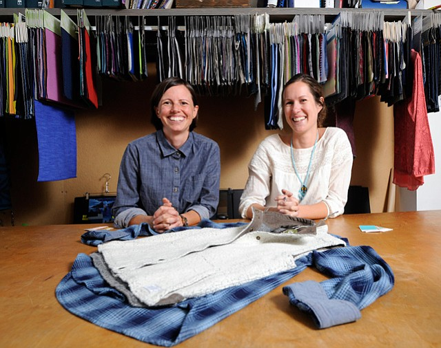 <b>FABRICS ARE KEY: </b> Toad & Co. designers Paige Harvey and Kira Grebel (right) combine fabrics to make functional yet stylish clothing in their office on the Riviera.