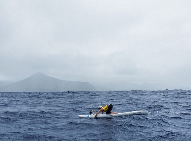 Pictured during her ocean crossing from Molokai to Oahu, Santa Barbara's Abby Brown has fast become a prone-paddling phenom. Despite being a relative rookie to the sport, this lifelong surfer is representing Team U.S.A. at the World Paddleboard Championship in Fiji this week.