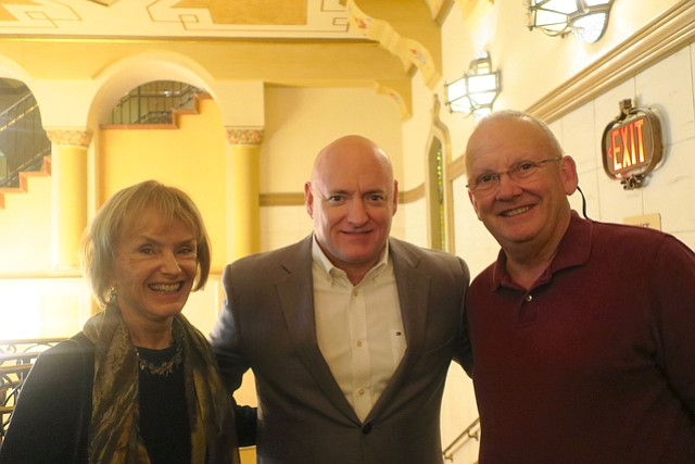 Astronaut Scott Kelly (center) with Dorothy Largay and Wayne Rosing, sponsors of the evening program.