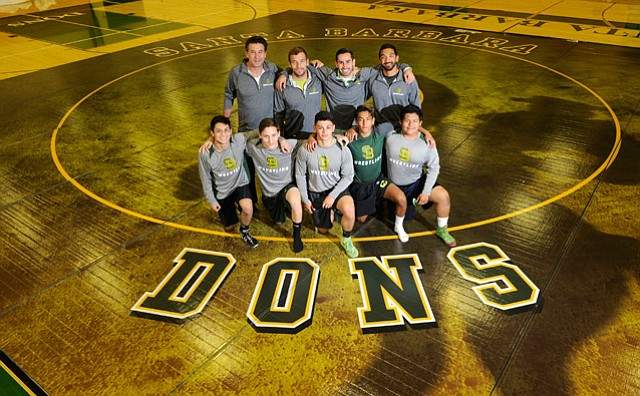 <b>MAT MEN: </b> Posed on Santa Barbara High's new wrestling mat are (back row, from left) Billy Baldwin, who offered financial support, and coaches Chris Hamman, Adrian Macias, and Eric Flores, along with (front row) wrestlers Marco Guillen, Jon Huther, Jonathan Cruz, Josue Vallecillo, and Jose Herrera.