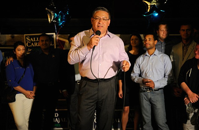 <b>WASHINGTON BOUND: </b>Salud Carbajal on election night speaks to supporters about the opportunities and challenges ahead.