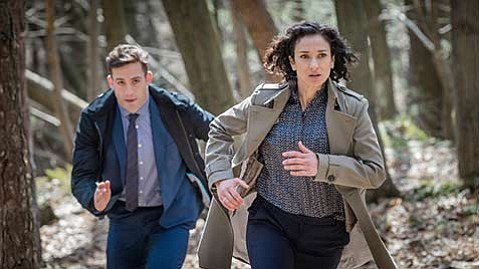 <strong>INTO THE WOODS:</strong>  Dino Fetscher and Indira Varma star in the Netflix original <em>Paranoid</em>.