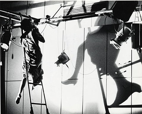 """<strong>UNDER CONSTRUCTION:</strong> For the 1965 Anna Halprin piece titled """"Apartment 6,"""" sculptor Charles Ross not only built an elaborate structure for the dancers to climb on, but he also came onstage and built a rhinoceros out of paper. The dance began and ended when Ross started and  nished the rhino."""