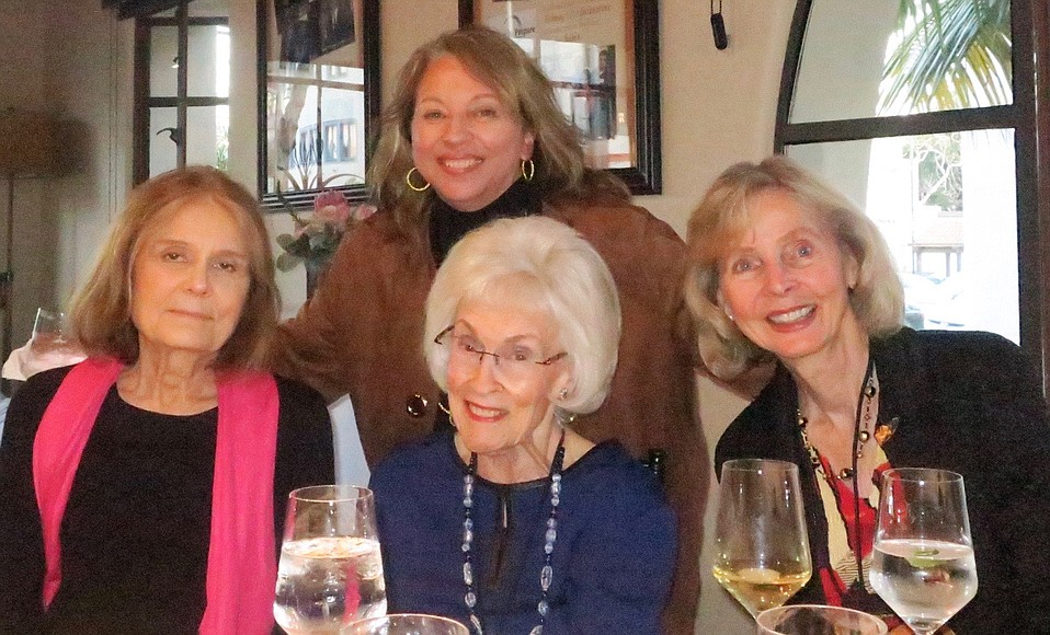 Gloria Steinem, Executive Director Celesta Billeci (back row), Event Sponsor Sara Miller McCune, and former Congressmember Lois Capps.