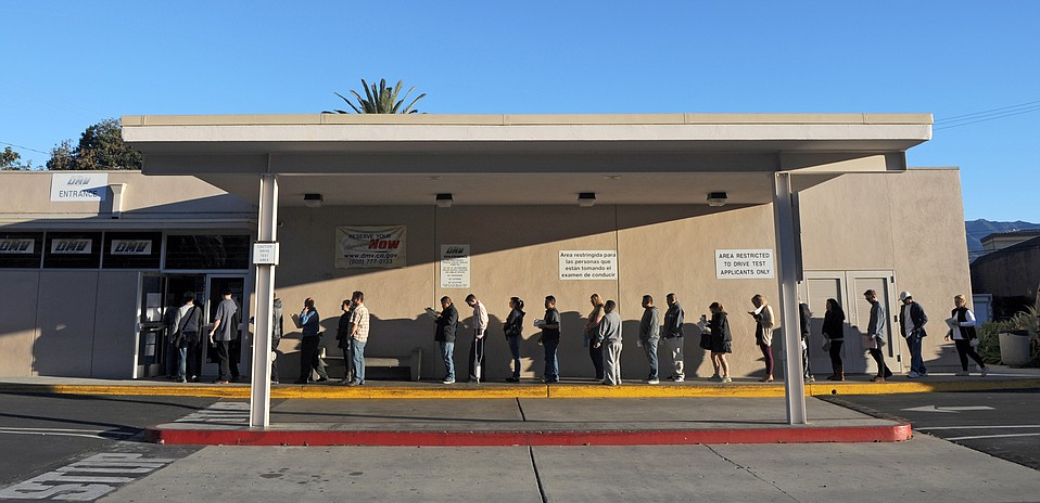 Undocumented immigrants line up outside the Santa Barbara DMV the first day AB 60 went into effect