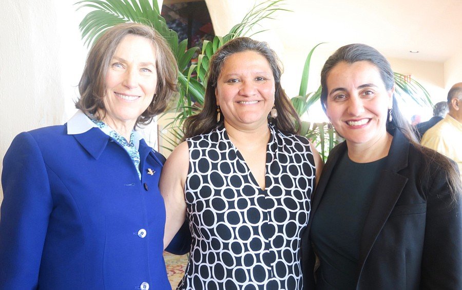 Keynote speaker County Board of Supervisors Chair Joan Hartmann, Executive Director Maricela Morales, and emcee CA Assemblymember Monique Limón.