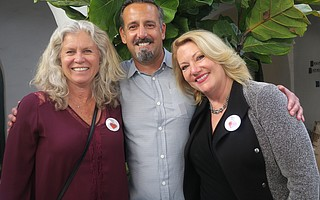 Board Chair (and volunteer) Kelly Onnen, Chef Aaron Casale, and Executive Director Sharon Byrne.